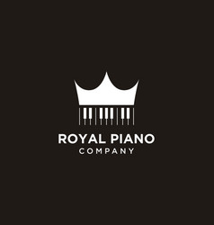 simple piano with crown logo design vector image