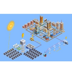 Solar Station Isometric Poster vector