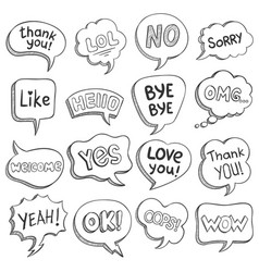 speech bubbles with dialog words sketch bubble vector image