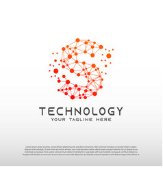 Technology logo with initial s letter network vector