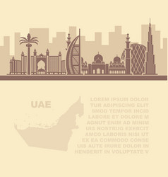 template leaflets with a map uae and dubai vector image