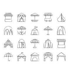 tent charcoal draw line icons set vector image