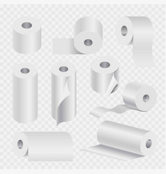 Toilet paper roll or kitchen towel 3d icons vector