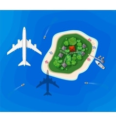Top view of an island vector image