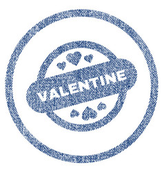 Valentine stamp seal rounded fabric textured icon vector