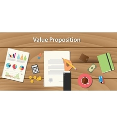 Value proposition concept with hand vector