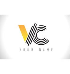 Vc black lines letter logo creative line letters vector