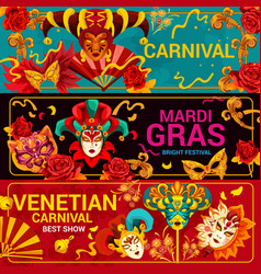 Venetian carnival masks and mardi gras vector