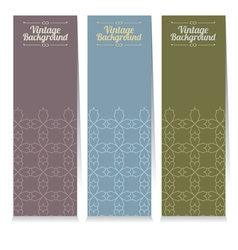 Vertical Banner Set Of Three Vintage Graphic Theme vector