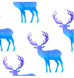 Watercolor christmas pattern with deer vector