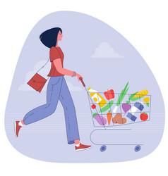 woman pushing supermarket shopping cart vector image