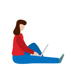 working woman sitting with a laptop social vector image