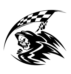 Black danger death demon with ckeckered flag vector image vector image