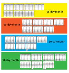 black lines calendar vector image vector image