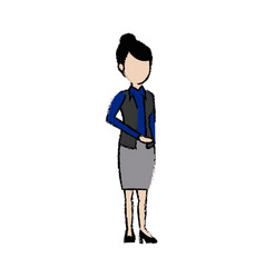 businesswoman standing staff office people vector image