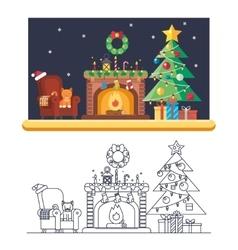 Cristmas Room New Year Santa Claus Icons Greeting vector image vector image
