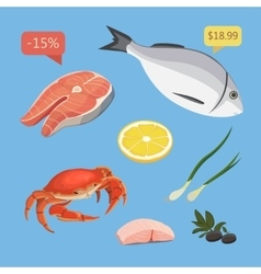 Fresh organic seafood vector image vector image