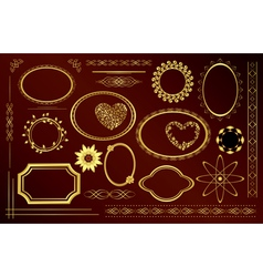 gold decorative frames vector image vector image