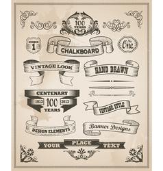 Vintage hand drawn design elements - banner set vector image