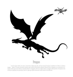 black silhouette of dragon on white background vector image vector image