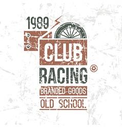 Emblem racing club old school vector image