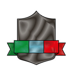 emblem with italy flag vector image vector image