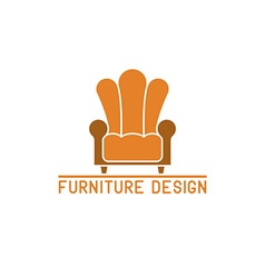 Furniture logo mockup armchair isolated chair icon vector image