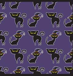 halloween black cat seamless pattern vector image vector image