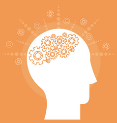 human head mind teamwork gear vector image
