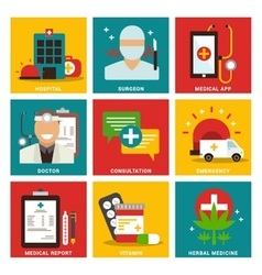 Medical nine flat items concept vector image