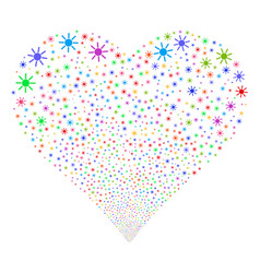 sun fireworks heart vector image vector image