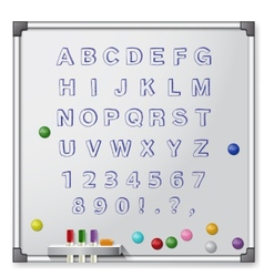 White board with colored markers and handrawn vector image
