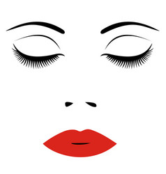 woman face with red lips and closed eyes for vector image