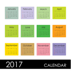 calendar for 2017 year week starts sunday vector image