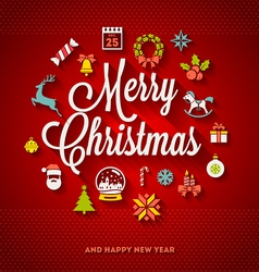 Christmas lettering with flat icons vector image vector image