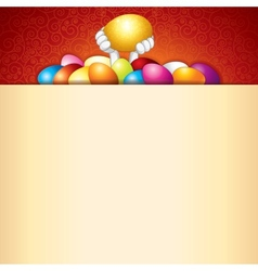 Easter Background Bunny and Heap of Painted Eggs vector image vector image