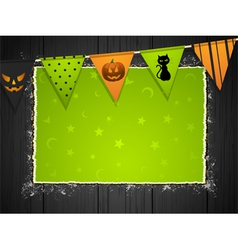 halloween background with bunting on wood vector image vector image