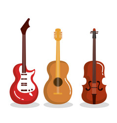 music instruments guitars violin acoustic vector image