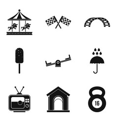 playing in the yard icons set simple style vector image vector image