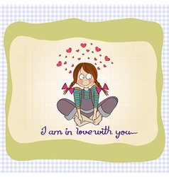 pretty young girl in love vector image vector image