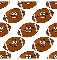 Seamless pattern of cartoon American footballs vector image