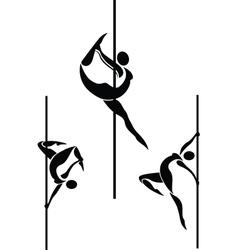 Stylized pole dancers vector