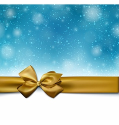 Christmas blue background with golden bow vector