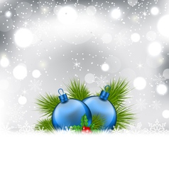 Christmas winter background with glass balls - vector image vector image