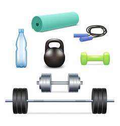 realistic gym icon set vector image vector image