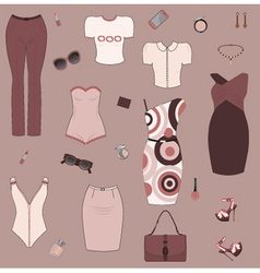Set of women clothes and accesories vector image vector image