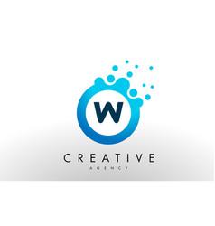 w letter logo blue dots bubble design vector image vector image