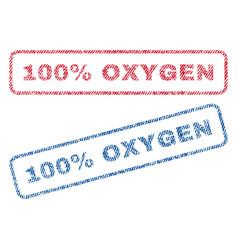 100 percent oxygen textile stamps vector