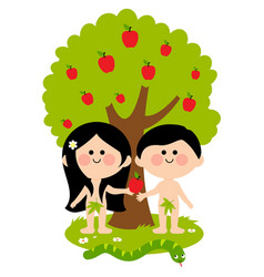 Adam and eve under an apple tree vector