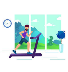 an adult man on a treadmill doing sports in the vector image